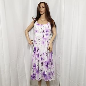 Connected Apparel Purple Floral Dress Sz 16 NWT